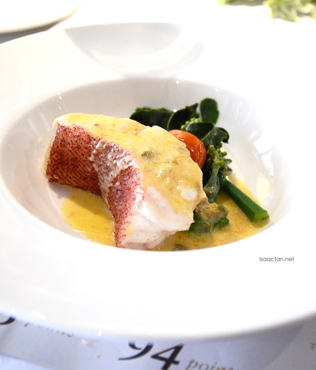 Steamed Coral Trout with Kale and Tomato