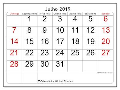Calendário julho/2019