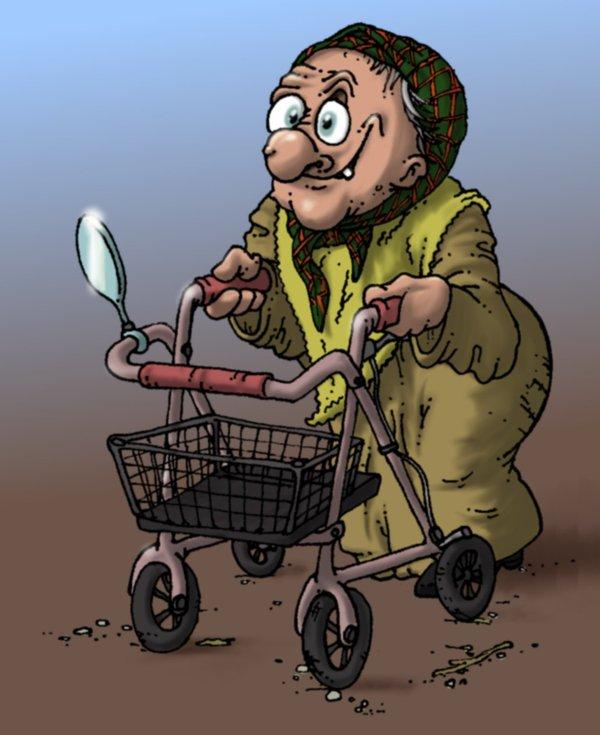 Alte Frau Mit Rollator Comic