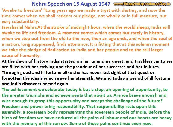 Jawaharlal Nehru speech on 15 August 1947