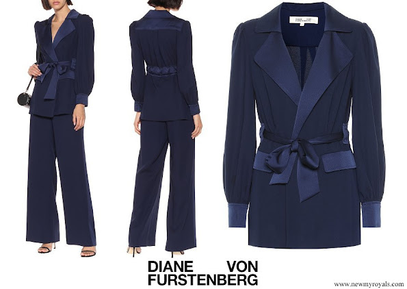 Princess Madeleine wore Diane von Furstenberg Stassie satin crepe jacket and Ciara satin crepe pants