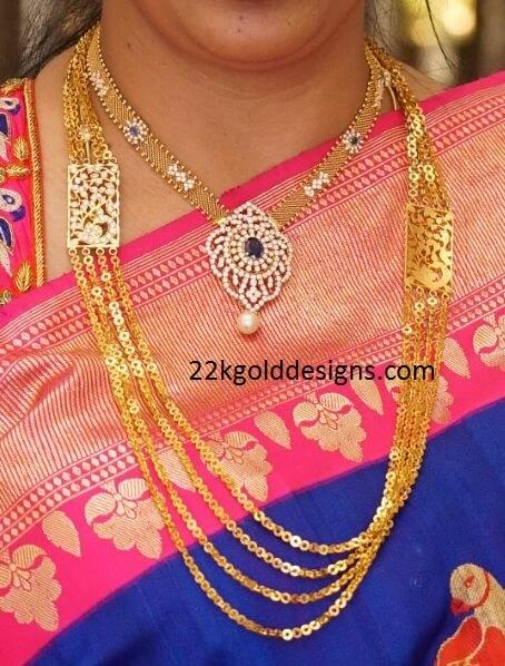 Diamond kasulaperu with pendant - Chandraharam Archives 22kgolddesigns