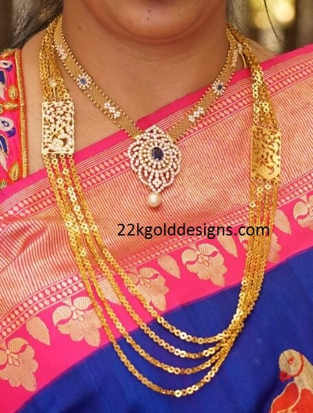 Gold Chandraharam And Mesh Chain Necklace 22kgolddesigns