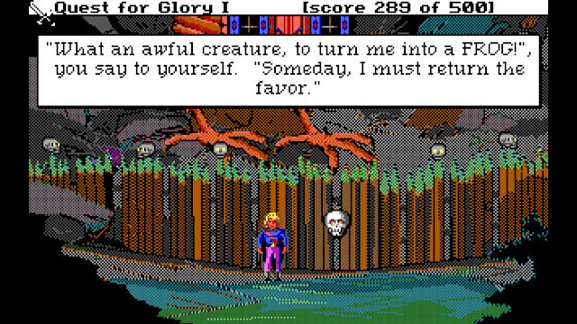 Screenshot from Quest for Glory 1 EGA of Hero outside Baba Yaga's hut