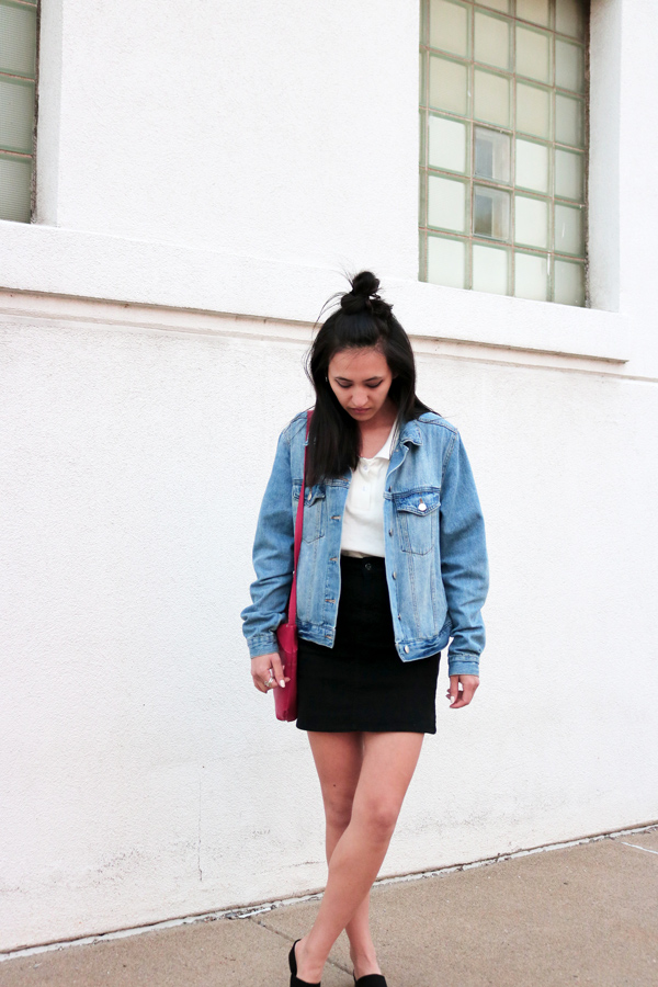 Denim Jacket, Black denim mini skirt, Spring Style