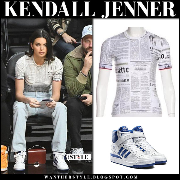 Kendall Jenner in white newspaper top john galliano and jeans model fashion january 24