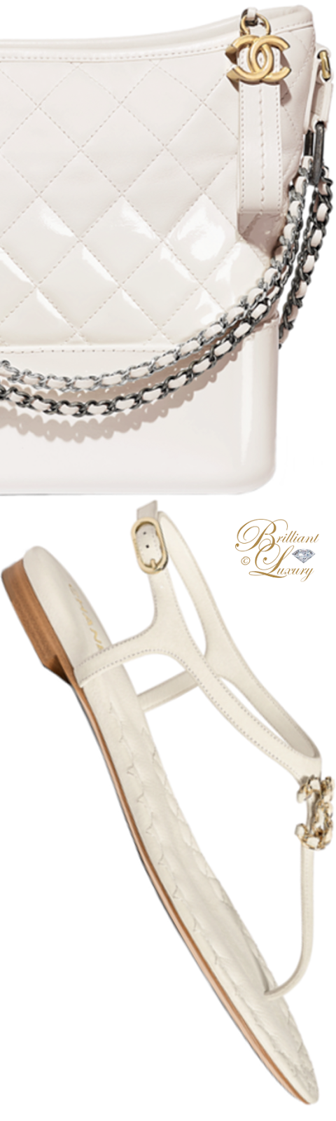 Brilliant Luxury ♦ Chanel white Gabrielle hobo bag and Chanel flat sandals