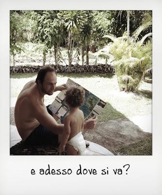 Bambina di un anno e mezzo alle Seychelles con il papà, la guesthouse di Praslin