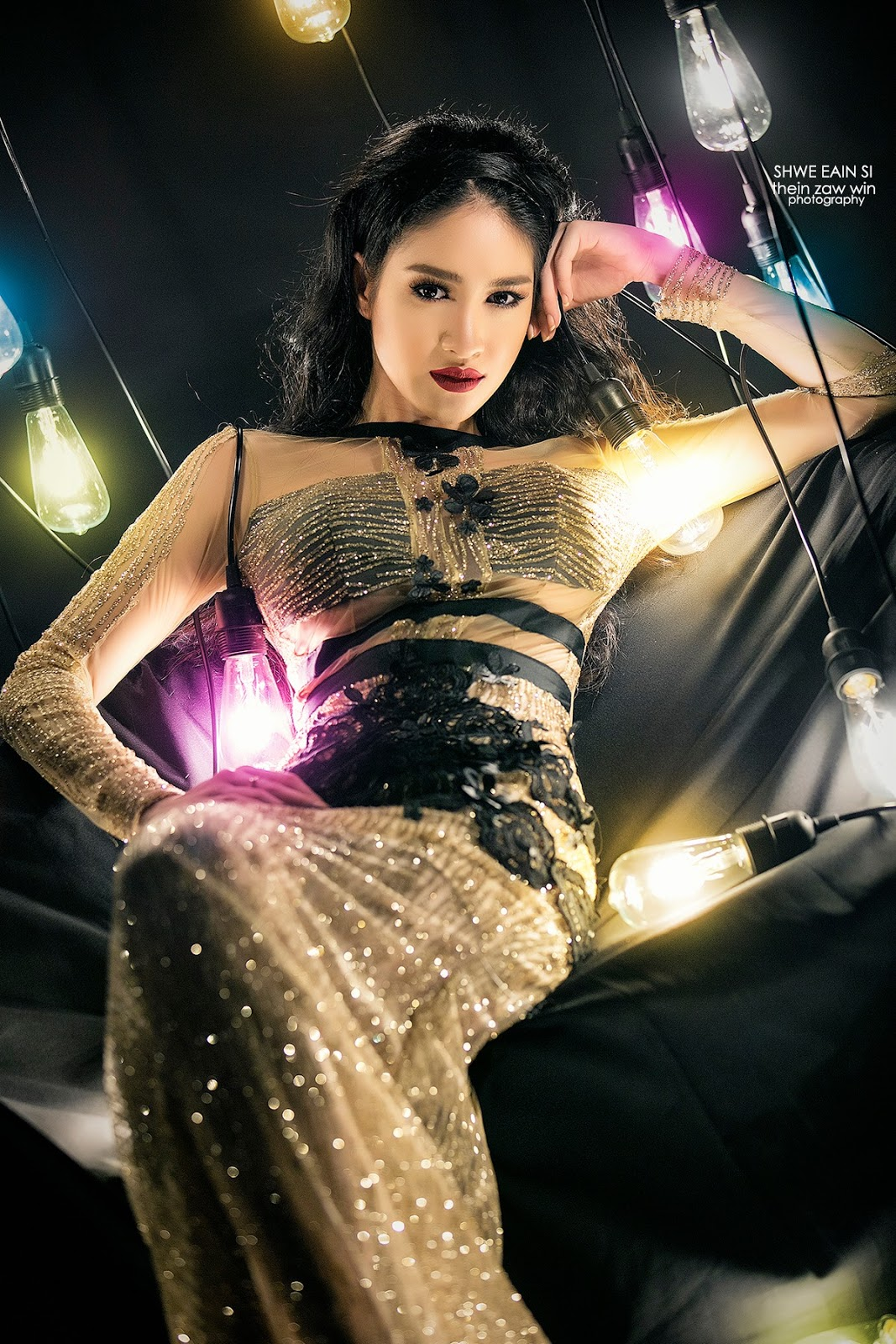 Shwe Eain Si Colorful Light Bulbs Photoshoot In Sunday Journal Cover