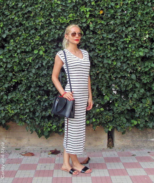Aviators+StripedDress+Slides