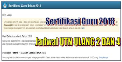 Jadwal UTN Ulang 2 Dan 4 Sertifikasi guru Tahun 2018