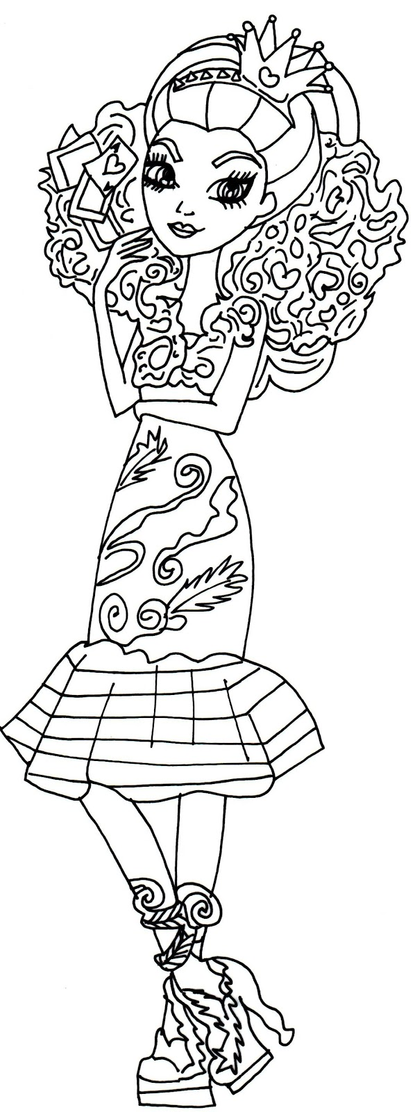 Raven queen way too wonderland ever after high coloring page