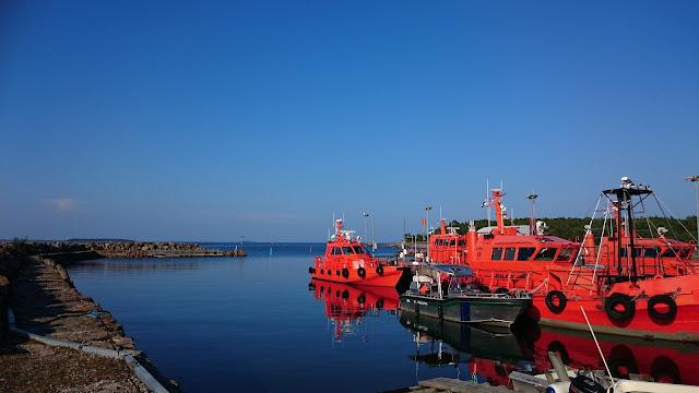 Punaisia veneitä satamassa, aurinkoisessa, tyynessä säässä.