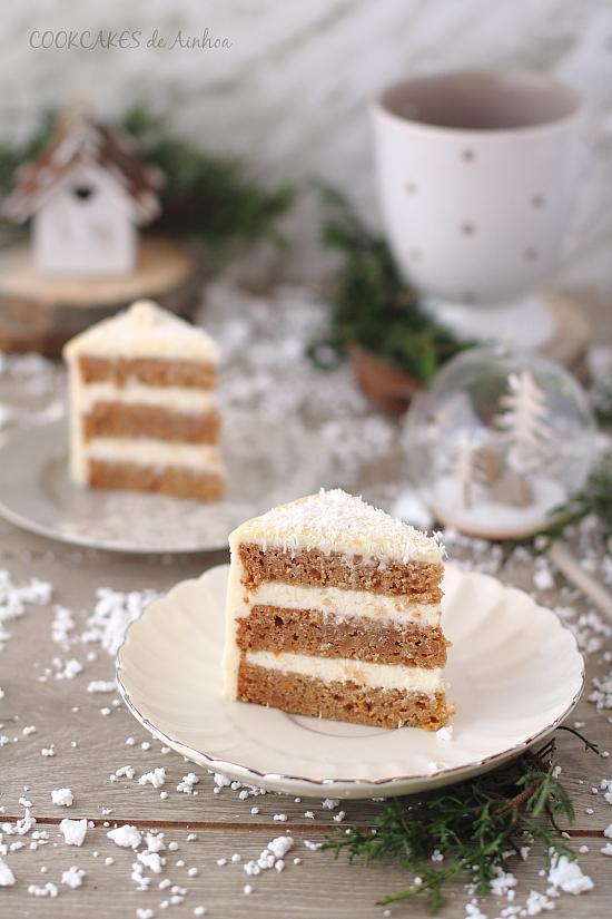 Drip Cake de Mandarina Especiada y Crema de Queso (Tarta Navidad)