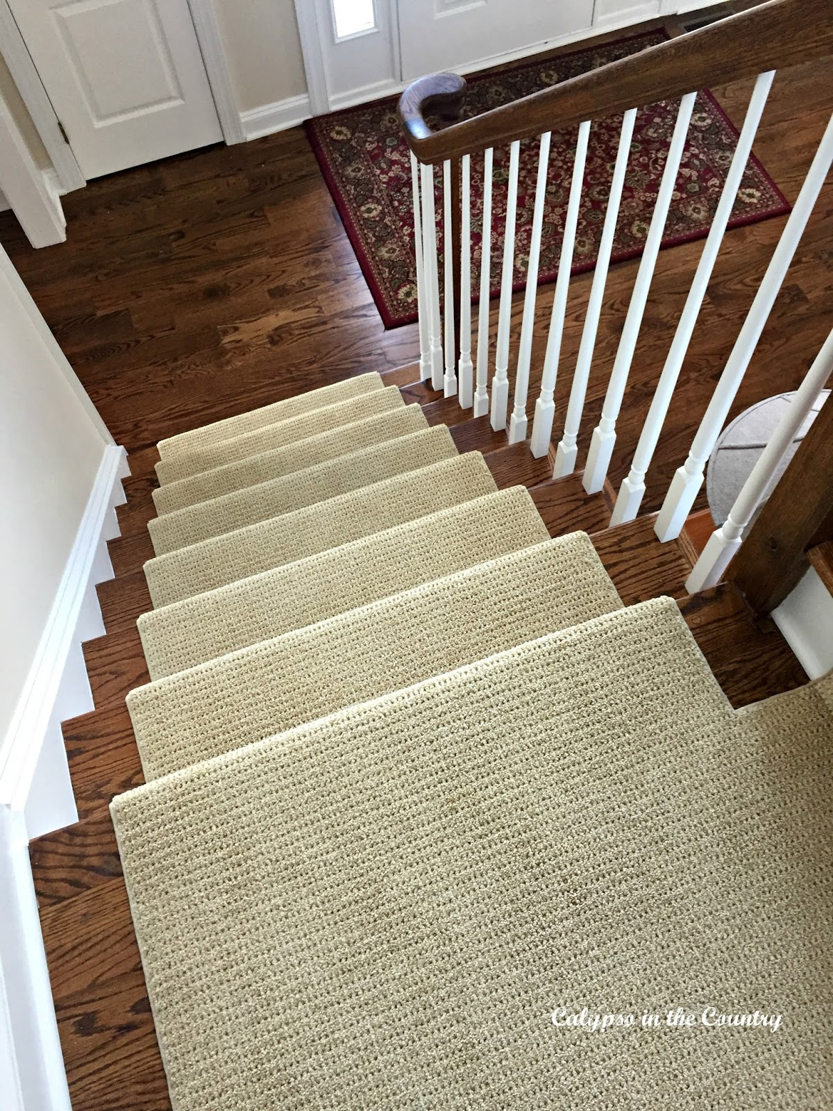 New Stair Runner on newly stained staircase