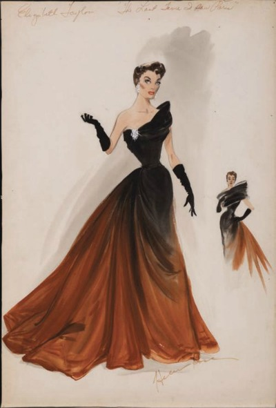 Helen Rose Sketch of Gown Designed for Elizabeth Taylor  in The Last Time I Saw Paris 1954