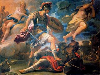 Η μονομαχία του Αινεία και του Τύρνου (XII), έργο του Λούκα Τζορντάνο, (17ος αι.), παρεκκλήσι Κορσίνι στο Κάρμινε, Φλωρεντία