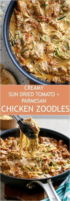 Creamy Sundried Tomato + Parmesan Chicken Zoodles
