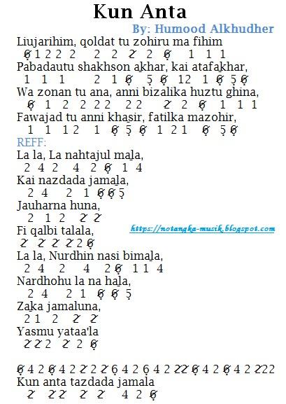 Lagu Humood Kun Anta : humood, Angka, Pianika, Humood, Alkhudher