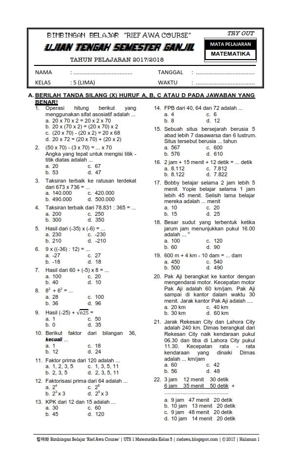 Download Soal Ujian Tengah Semester Ganjil UTS 1 Matematika Kelas 5 Tahun 2017 / 2018 ~ Rief Awa