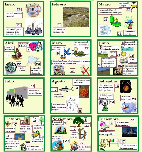 cultura ambiental  calendario ecologico