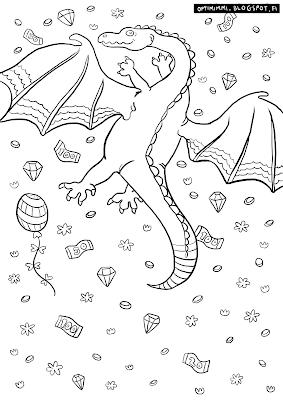 A coloring page of a rich dragon / Värityskuva rikkaasta lohikäärmeestä