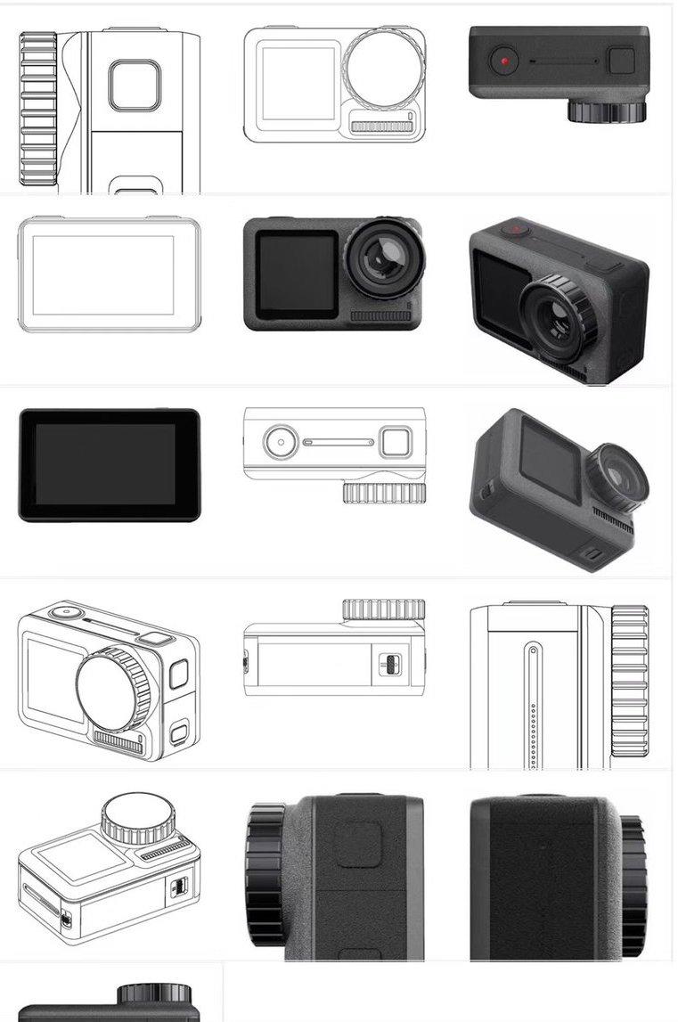 Технические изображения экшн-камеры DJI