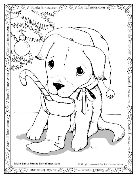 Santa Puppy Christmas Coloring Page