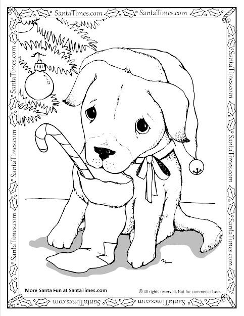 Santa Puppy Christmas Coloring Page