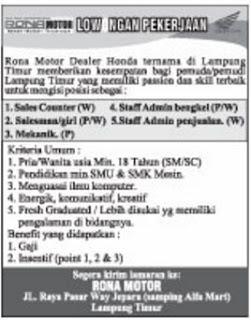 Bursa Kerja Lampung Terbaru April 2017 Dari RONA MOTOR Lampung Timur