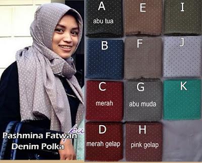 Model Jilbab Terbaru Pashmina Fatwan Denim Polka