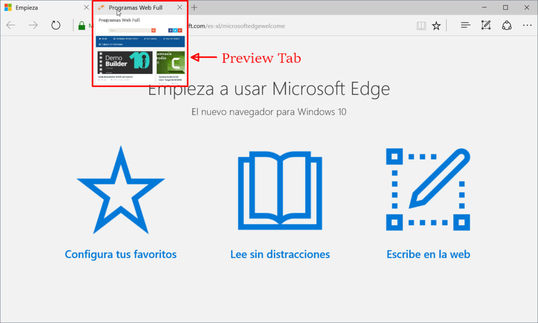 Windows 10 TH 2 Edge Preview Tab