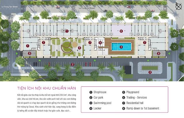 Mặt bằng tầng 1 toàn dự án The K - Park