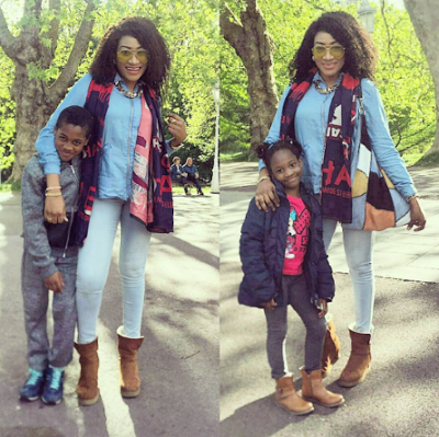 Oge Okoye dons denim on denim for outing with her kids