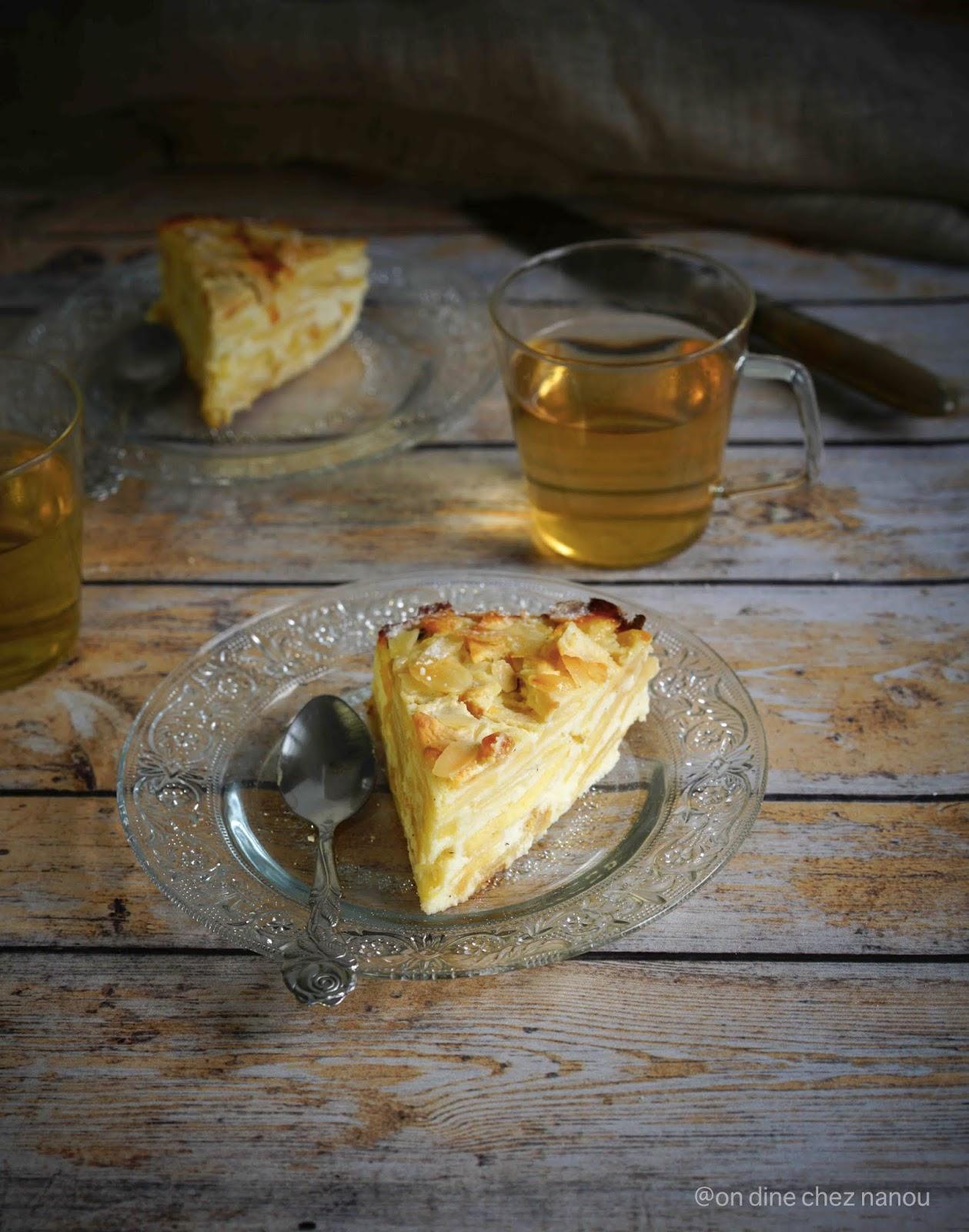 sans blé , gâteau aux pommes , ricotta , petit dejeuner