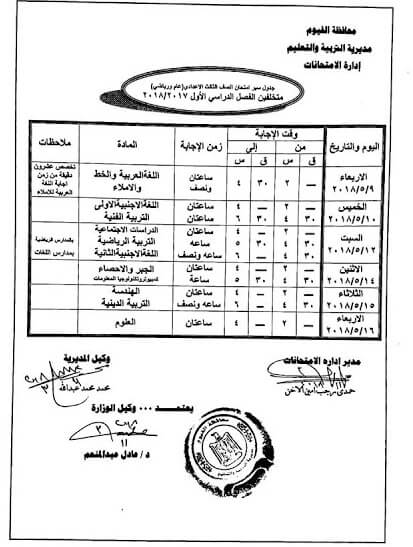 جدول امتحانات الصف الثالث الاعدادي 2018 الترم الثاني محافظة الفيوم
