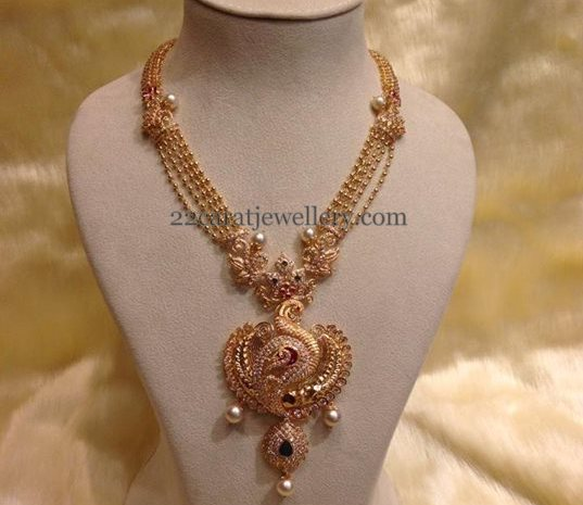Gold Beads Peacock Fancy Set Jewellery Designs