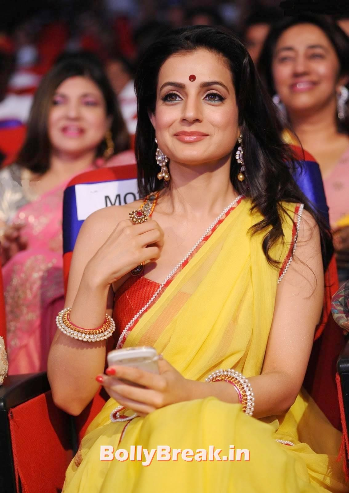 , Amisha Patel Latest hot Photos in Yellow Saree from Event