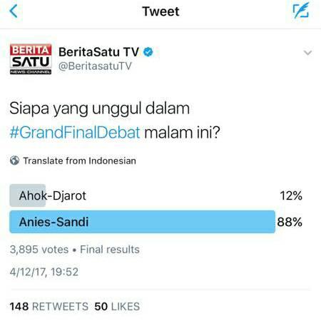 Semua Hasil POLLING Debat Pilkada Nyatakan Anies-Sandi Menang, Cuma MetroTV yang Beda Sendiri