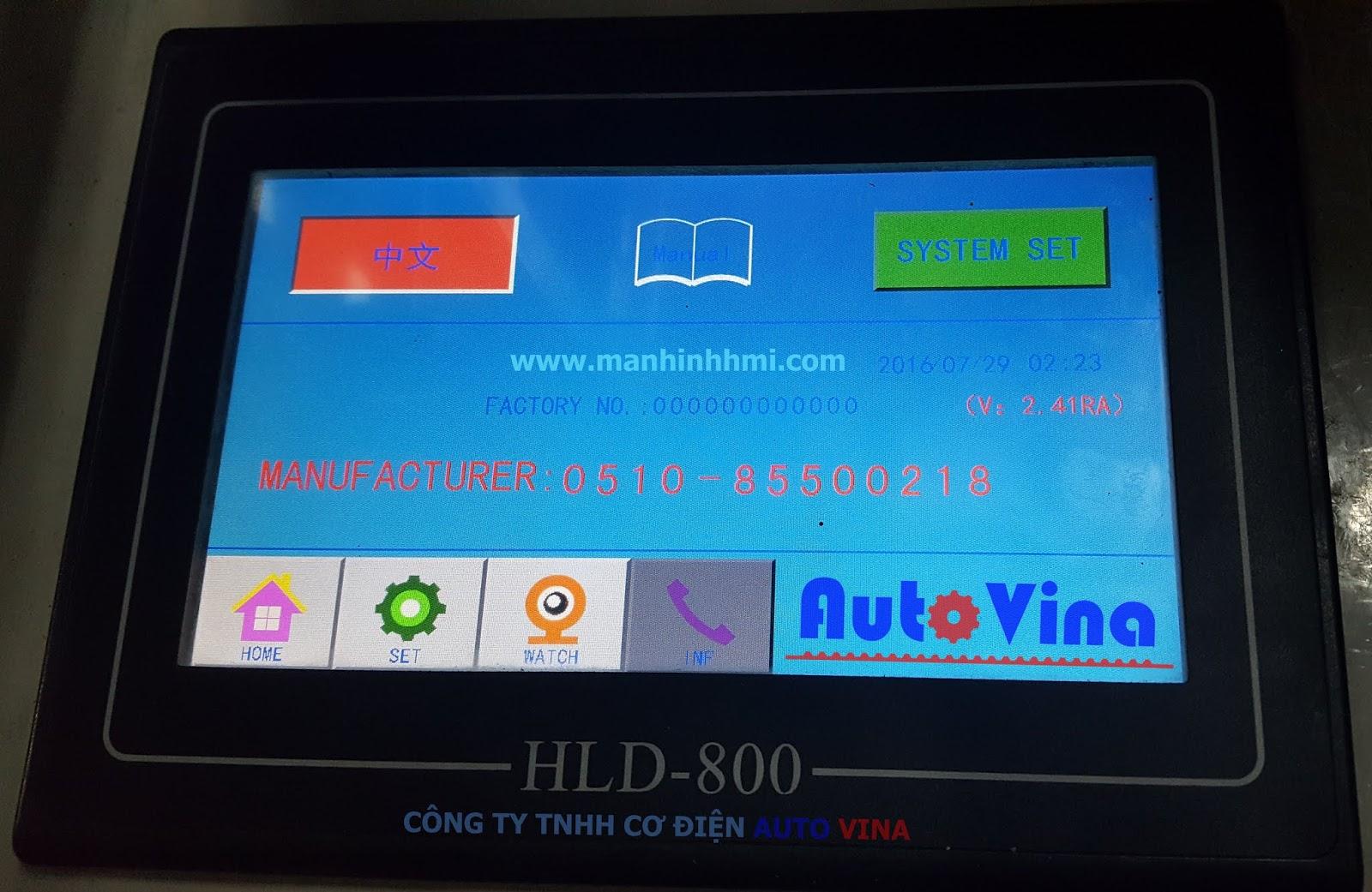Thông tin trên HLD-800 màn hình khởi động chạy máy cắt