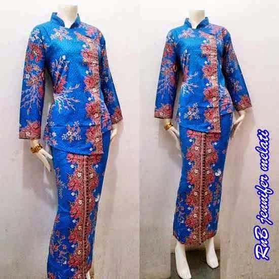 Baju Seragam Batik Kerja Setelan Rok Blus Warna Biru