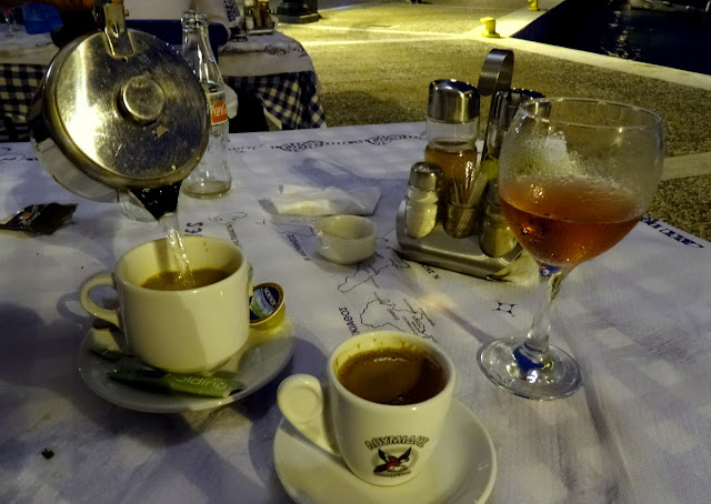 Coffee at the Fish Market - Old Port in Skiathos Island, Greece