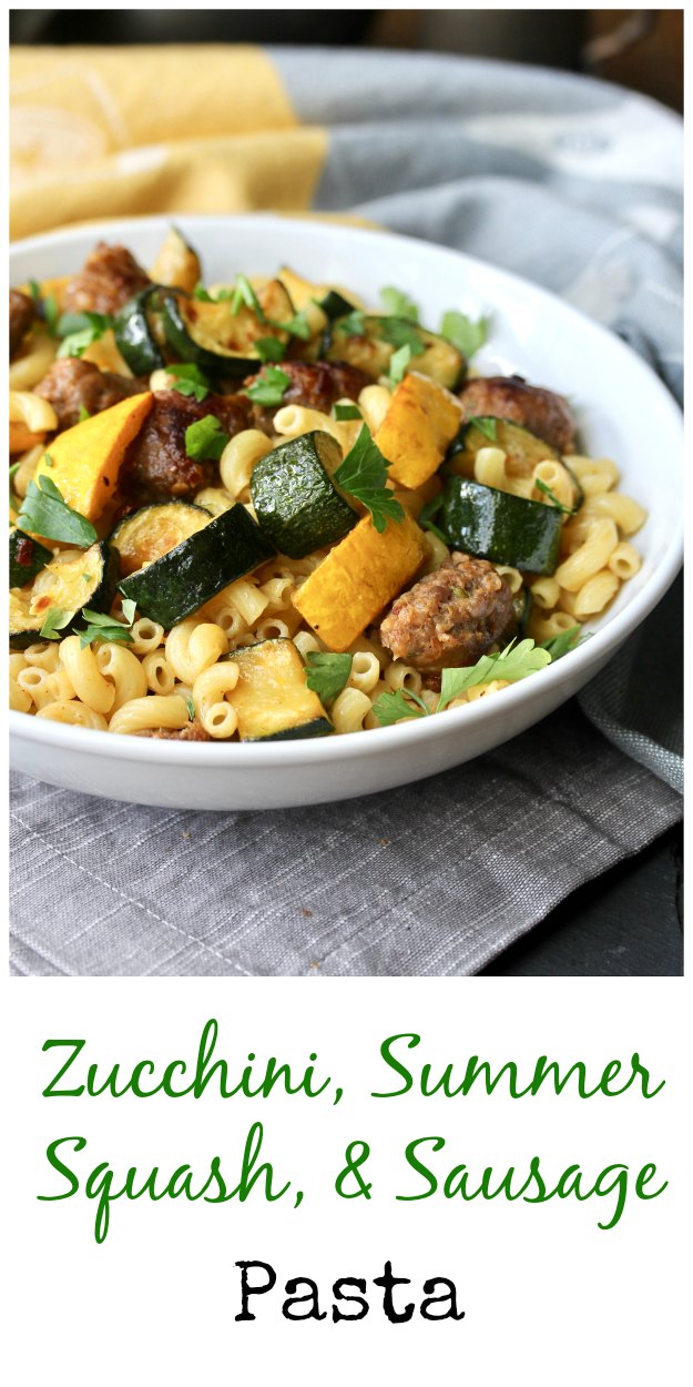 Zucchini, Crookneck Squash, and Sausage Pasta #pasta #sausage #zucchini #FarmersMarketWeek