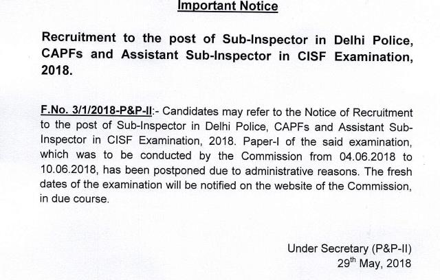 SSC CPO 2018 Tier I Exam Notice