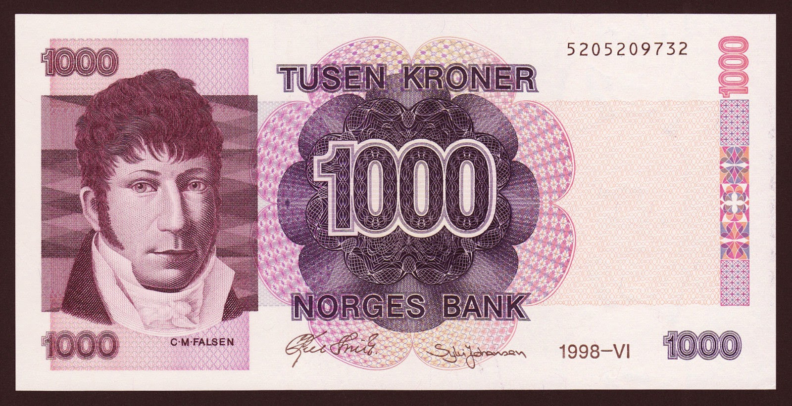 Norway Banknotes 1000 Kroner banknote 1998 Christian Magnus Falsen