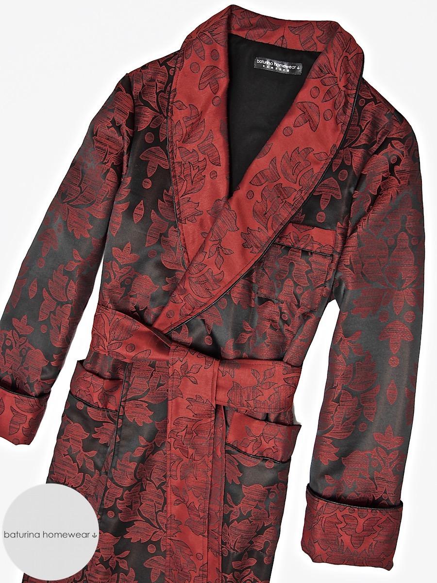 e6c4650dbf Englischer Herren Hausmantel Baumwolle Luxus Morgenmantel edel Paisley Rot  Schwarz