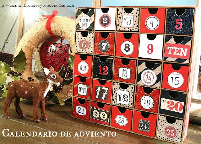 Calendario de adviento rojo, negro y blanco