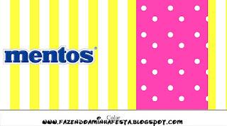 Etiquetas de Mentos de Rosado y Amarillo para imprimir gratis.
