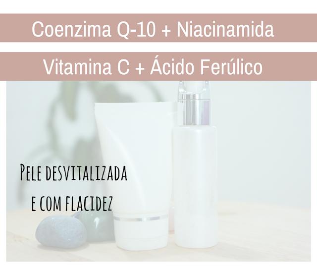 pele jovem, mais firmeza, viço, luminosidade, tratamento de pele, vitamina C, ácido ferúlico, niacinamida