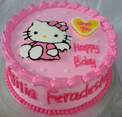 membuat kue ulang tahun dengan hiasan hello kitty
